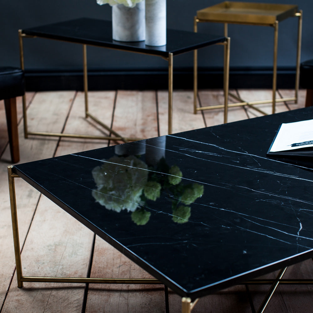 GillmoreSpace Iris Brass Rectangle Coffee Table black marble