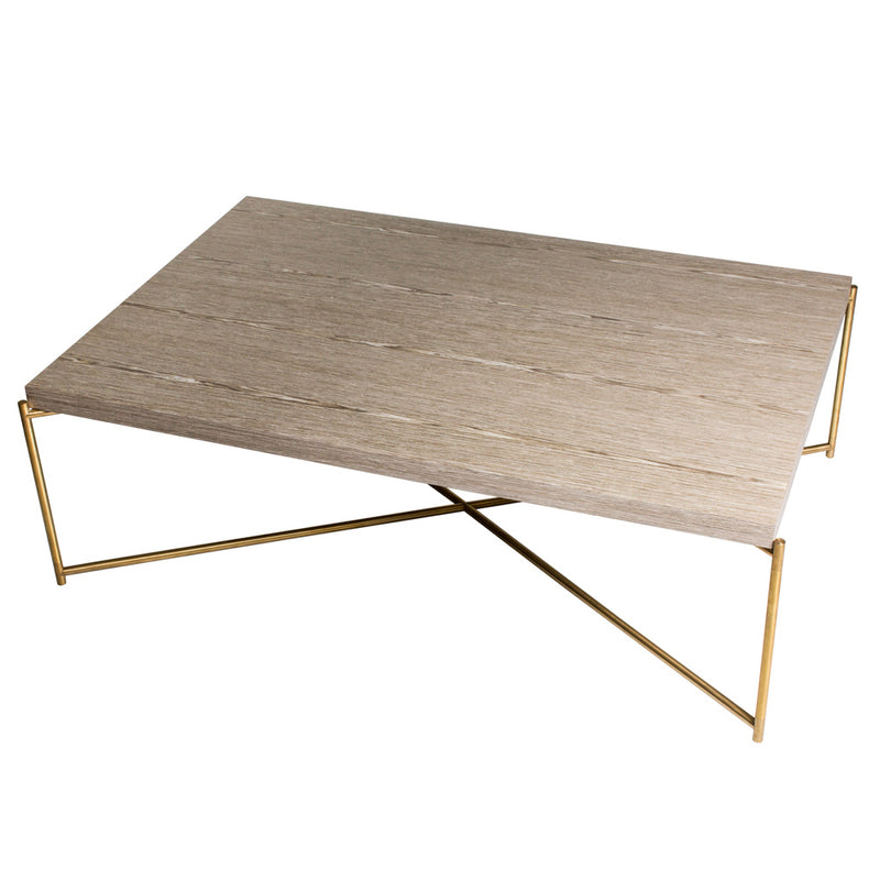 GillmoreSpace Iris Brass Rectangle Coffee Table Oak
