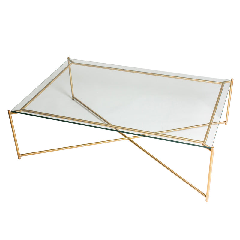 GillmoreSpace Iris Brass Rectangle Coffee Table Glass