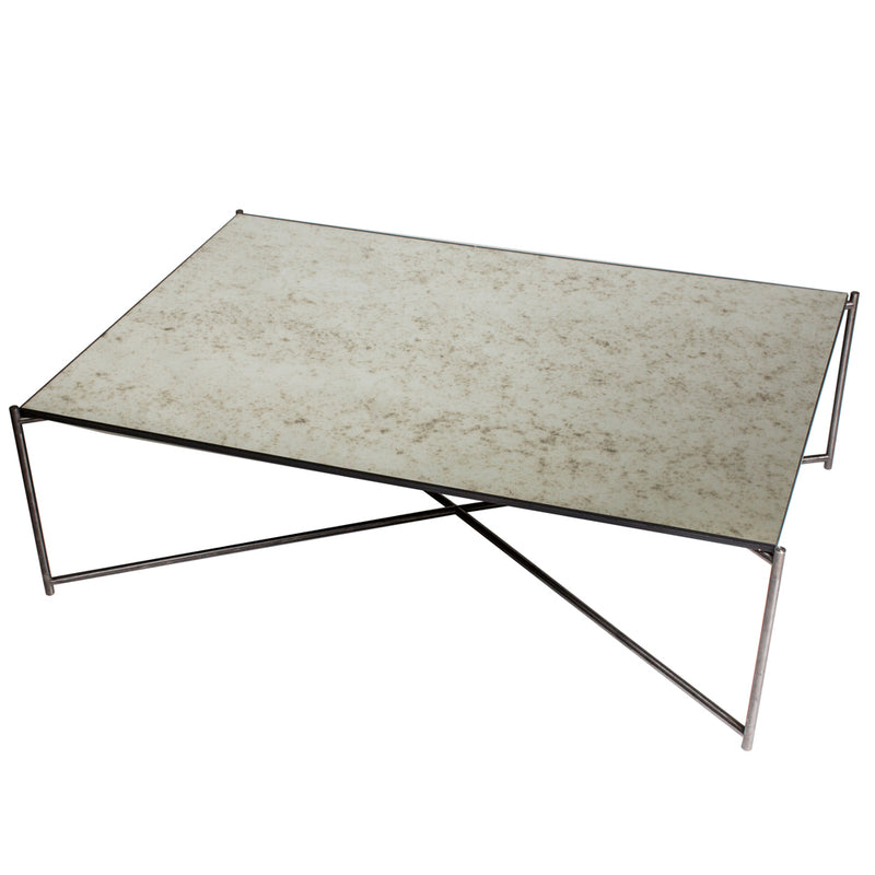 GillmoreSpace Iris Gunmetal Rectangle Coffee Table Antique Glass