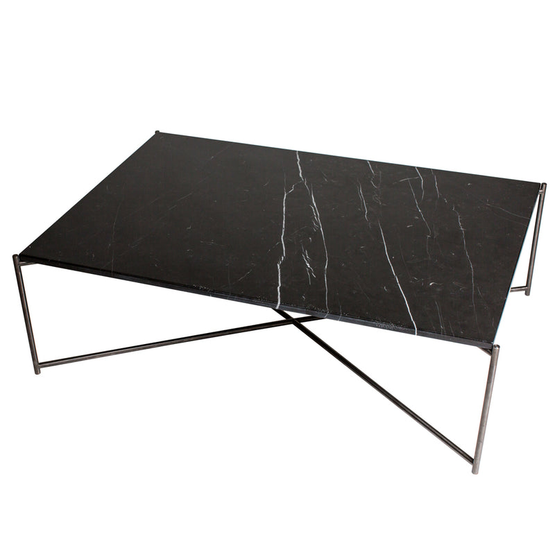 GillmoreSpace Iris Gunmetal Rectangle Coffee Table Black Marble