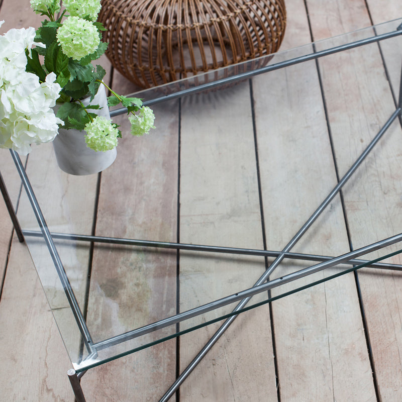GillmoreSpace Iris Gunmetal Rectangle Coffee Table Glass