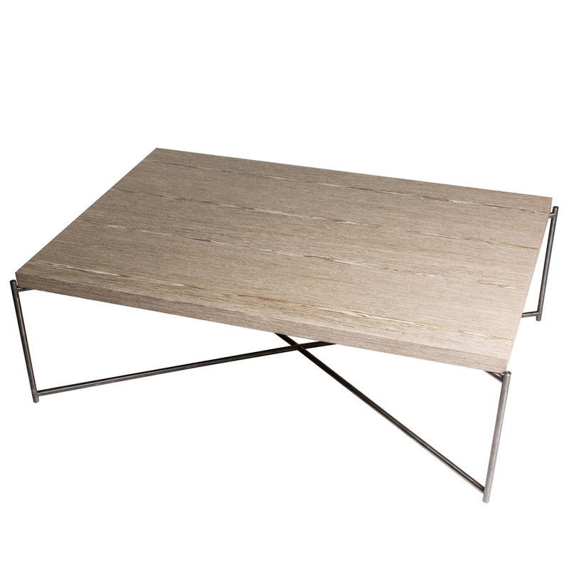 GillmoreSpace Iris Gunmetal Rectangle Coffee Table Weathered Oak