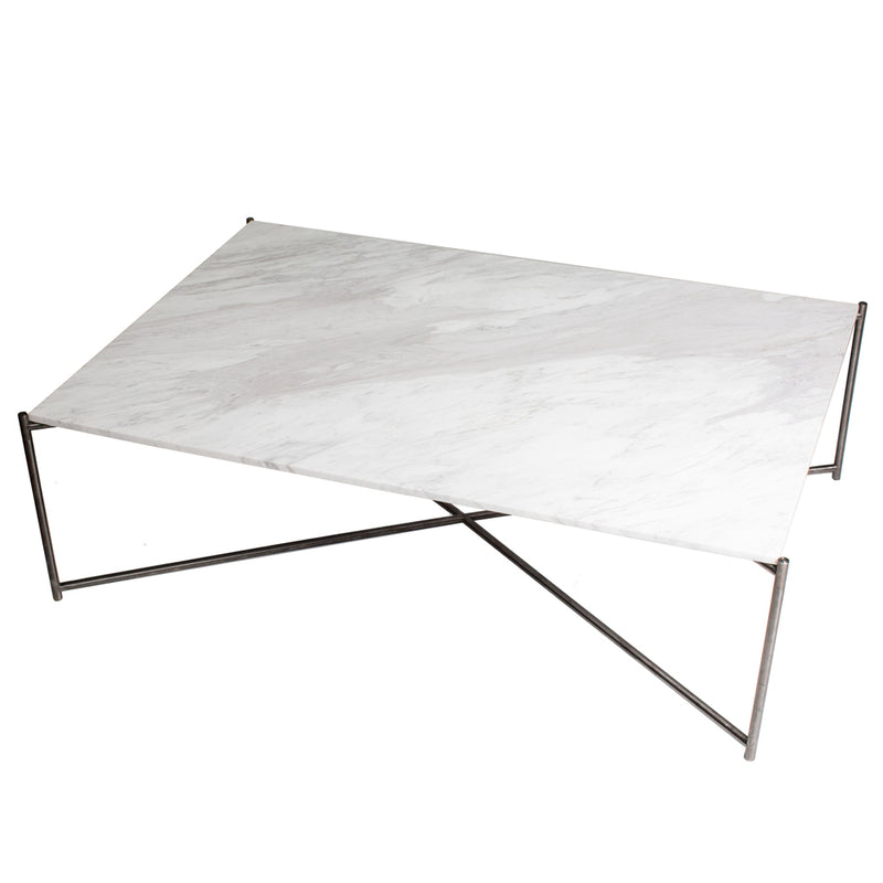 GillmoreSpace Iris Gunmetal Rectangle Coffee Table White Marble