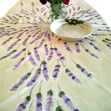 Lavender Flowers Hand Painted Tablecloth