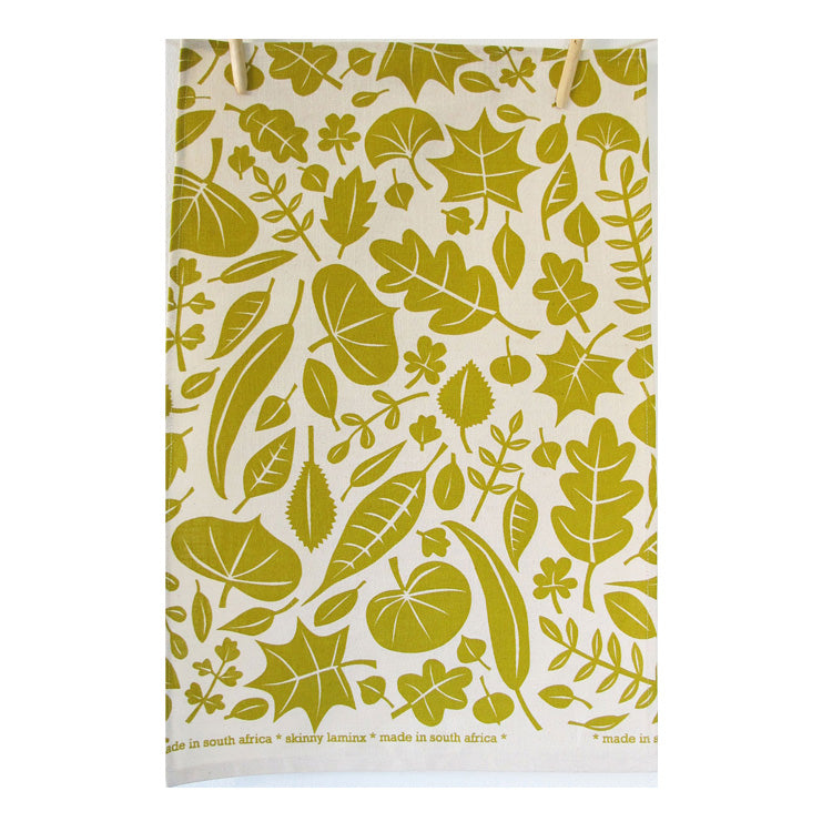 Skinny Laminx Leaves Tea Towel Gold