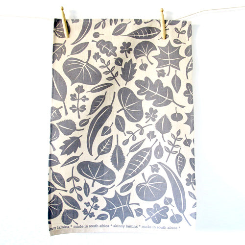 Skinny LaminxLeaves Tea Towel Grey