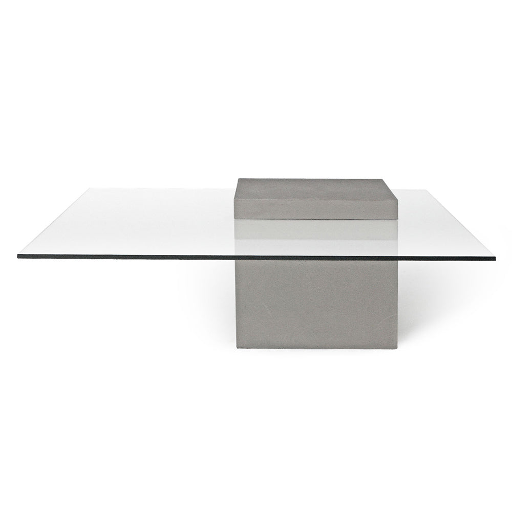 Lyon Beton Verveine Glass Top Concrete Coffee Table