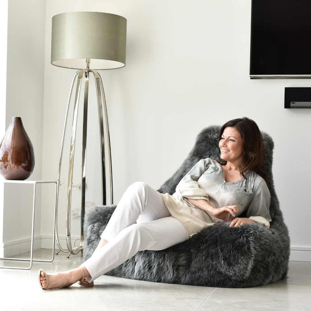 Extreme Lounging Mighty-b Big Furry Bean Bag Chair Styled