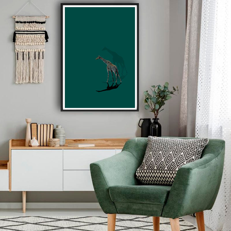 One Giraffe Wall Poster By Hershgold Teal