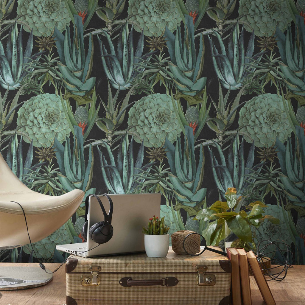Mind The Gap Succulentus Anthracite Wallpaper