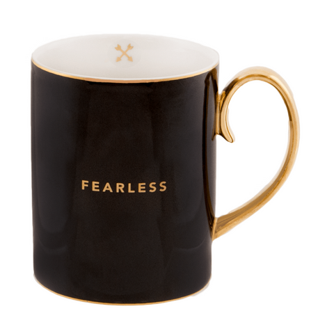Cristina Re Fearless Ebony / Black / Gold Bone China Mug