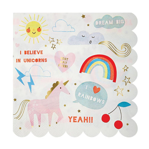 Meri Meri Unicorn and Rainbow Paper Napkins Large (Toot Sweet) - 33cm (16 pack)