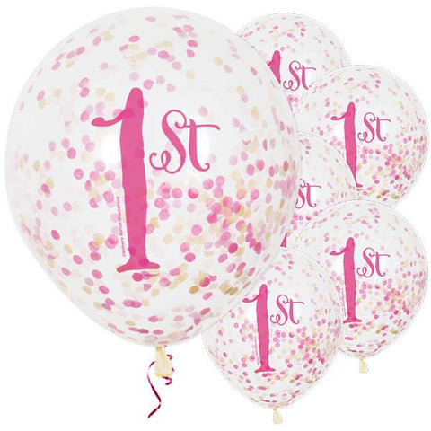 "1st Birthday Pink Confetti Party Balloons - 12"" / 3cm Latex (pack of 6)"