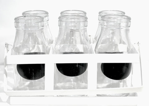 Mini Milk Bottle - Blackboard (pack of 6) with White Holder, , Dining, General Eclectic, Party Twinkle | PO BOX 3145 BRIGHTON VIC 3186 AUSTRALIA | www.partytwinkle.com.au