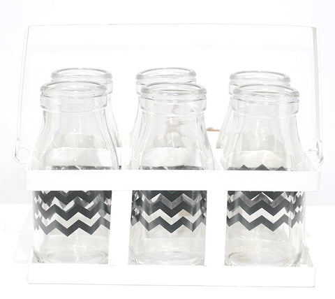 Mini Milk Bottle - Black Chevron (pack of 6) with White Holder, , Dining, General Eclectic, Party Twinkle | PO BOX 3145 BRIGHTON VIC 3186 AUSTRALIA | www.partytwinkle.com.au