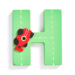 "Jojo Maman Bebe - Wooden / Door Letter Primary ""H"" Green"