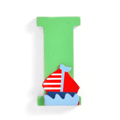 "Jojo Maman Bebe - Wooden / Door Letter Primary ""I"" Green"