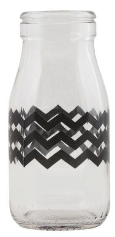 Mini Milk Bottle - Black Chevron, , Dining, General Eclectic, Party Twinkle | PO BOX 3145 BRIGHTON VIC 3186 AUSTRALIA | www.partytwinkle.com.au