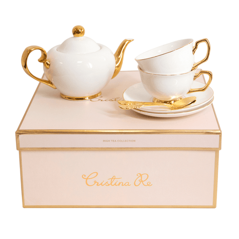 Cristina Re Signature Tea Set 2 Cup Ivory / White - New Bone China