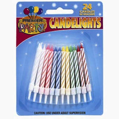 * Candle Candy Stripe with Holders, , Candles, Balloon Agencies, Party Twinkle | PO BOX 3145 BRIGHTON VIC 3186 AUSTRALIA | www.partytwinkle.com.au