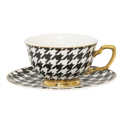 Cristina Re Houndstooth Teacup and Saucer Set