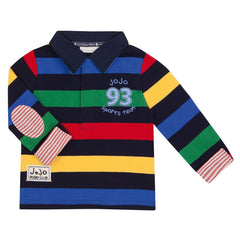 Jojo Maman Bebe Bright Stripe Rugby Top Navy (5-6 years)