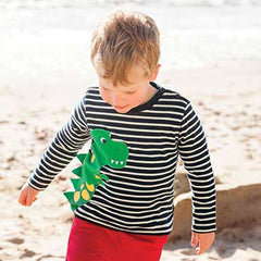Jojo Maman Bebe T-Rex Top Navy/Ecru Stripe (3-4 years)