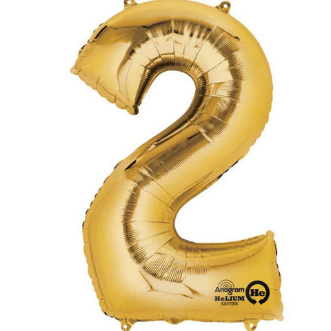"Gold Number 2 Balloon - 16"" / 40 cm foil (each)"