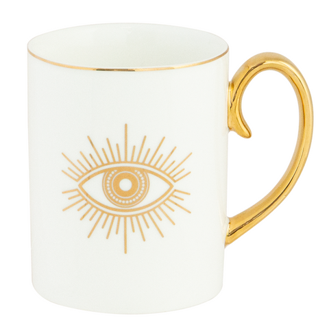 Cristina Re Mug Protective Eye - Ivory and Gold