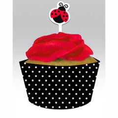 * Ladybug Fancy Party Cupcake Picks with Wrappers (12), , Cupcake Wrappers, Balloon Agencies, Party Twinkle | PO BOX 3145 BRIGHTON VIC 3186 AUSTRALIA | www.partytwinkle.com.au