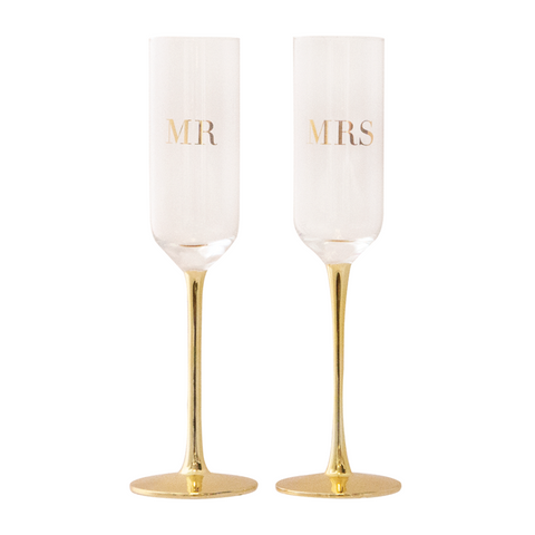 Cristina Re Champagne Flutes Crysal Mr & Mrs Set of 2