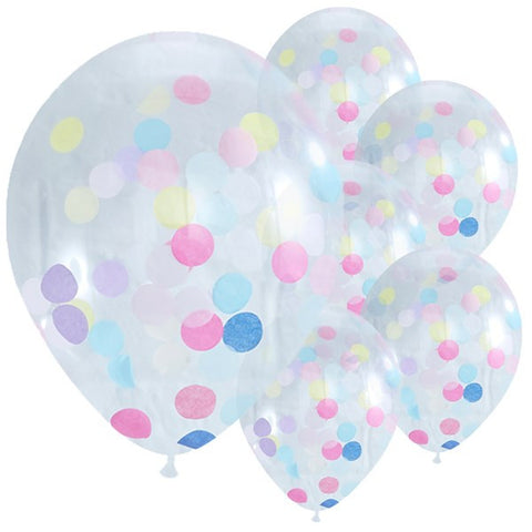 "Pick & Mix Confetti Balloons - 12"" Latex (5 pack)"
