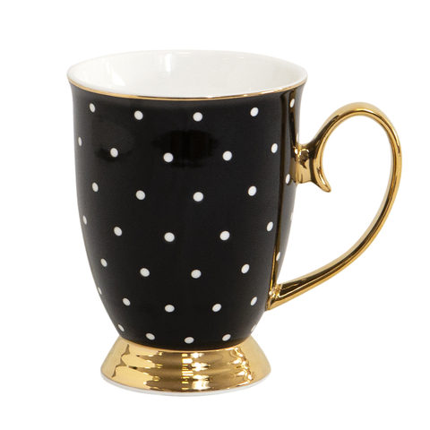 Cristina Re Mug Ebony Polka New Bone China