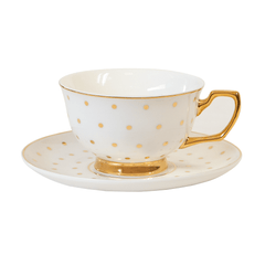 Cristina Re High Tea Teacup Kelly Polka Gold Ivory - New Bone China
