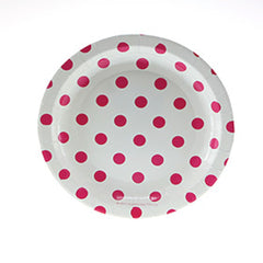 White with Red Polkadots Cake Plates - Pack of 12, , Cake Plates, Sambellina, Party Twinkle | PO BOX 3145 BRIGHTON VIC 3186 AUSTRALIA | www.partytwinkle.com.au