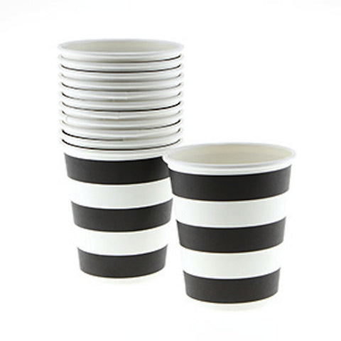 Sambellina Candy Stripe Black on White Cups (12), , Cups, Sambellina, Party Twinkle | PO BOX 3145 BRIGHTON VIC 3186 AUSTRALIA | www.partytwinkle.com.au  - 1