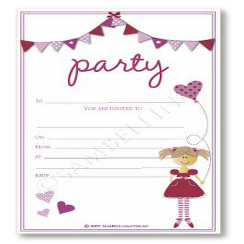 Sambellina Pink Bunting Invitations (12), , Invitations, Sambellina, Party Twinkle | PO BOX 3145 BRIGHTON VIC 3186 AUSTRALIA | www.partytwinkle.com.au
