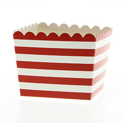 * Sambellina Red Stripe Scallop Party Favour Boxes (6), , Favour Box, Sambellina, Party Twinkle | PO BOX 3145 BRIGHTON VIC 3186 AUSTRALIA | www.partytwinkle.com.au
