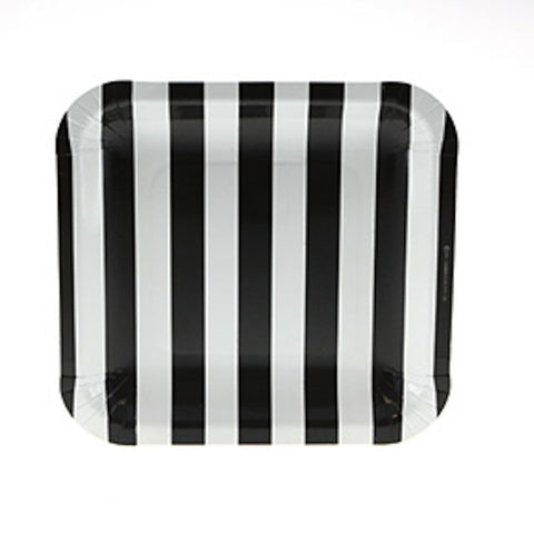 Sambellina Candy Stripe Black Square Plates (12), , Party Plate, Sambellina, Party Twinkle | PO BOX 3145 BRIGHTON VIC 3186 AUSTRALIA | www.partytwinkle.com.au  - 1