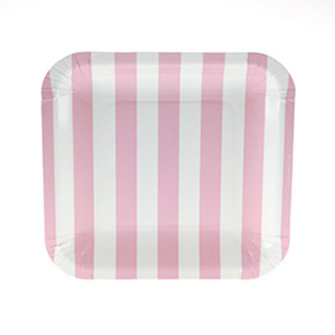 Sambellina Candy Stripe Blue Square Plates (12), , Party Plate, Sambellina, Party Twinkle | PO BOX 3145 BRIGHTON VIC 3186 AUSTRALIA | www.partytwinkle.com.au  - 1