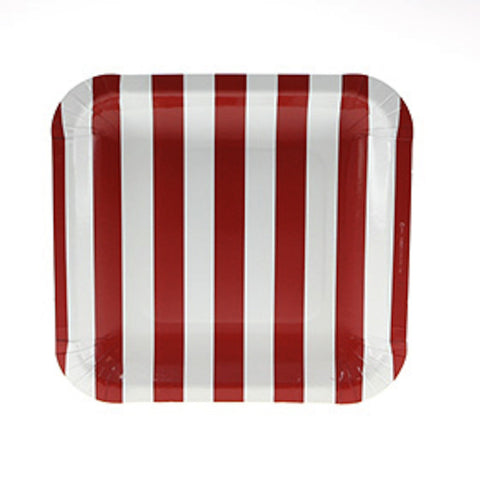 Sambellina Candy Stripe Red Square Plates (12), , Party Plate, Sambellina, Party Twinkle | PO BOX 3145 BRIGHTON VIC 3186 AUSTRALIA | www.partytwinkle.com.au  - 1
