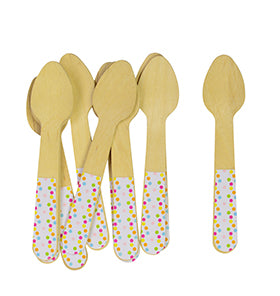 Sambellina Confetti Ice Cream Wooden Spoons 12 pcs (Wooden Cutlery)