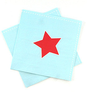 Sambellina Blue with Red Star Napkins (20) ~