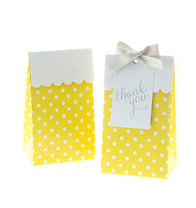 * Sambellina Yellow Polkadot Party Treat Boxes (12), , Treat Box, Sambellina, Party Twinkle | PO BOX 3145 BRIGHTON VIC 3186 AUSTRALIA | www.partytwinkle.com.au  - 1