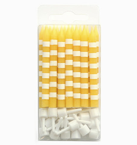 Sambellina Yellow and White Stripes Candles with Holders (16), , Candles, Balloon Agencies, Party Twinkle | PO BOX 3145 BRIGHTON VIC 3186 AUSTRALIA | www.partytwinkle.com.au