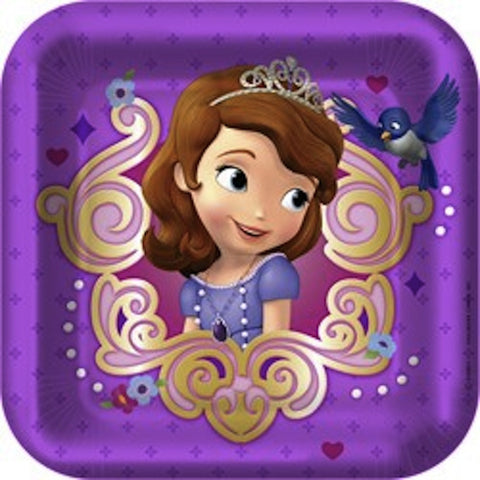 Sofia the First 18cm Dessert Plates (8), , Cake Plates, Discount Party Supplies, Party Twinkle | PO BOX 3145 BRIGHTON VIC 3186 AUSTRALIA | www.partytwinkle.com.au