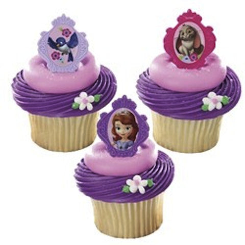 Sofia the First Party Favour / Cupcake Rings (12), , Cupcake Wrappers, Discount Party Supplies, Party Twinkle | PO BOX 3145 BRIGHTON VIC 3186 AUSTRALIA | www.partytwinkle.com.au