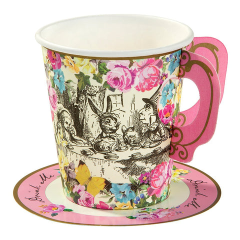 Talking Tables Truly Alice Cups - Paper Party Cups with Saucers (Pack of 12)