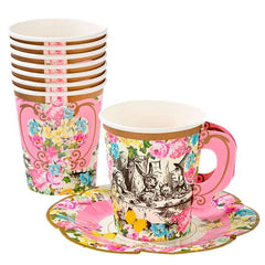 Talking Tables Truly Alice Whimsical Cups with Saucers (Pack of 12)